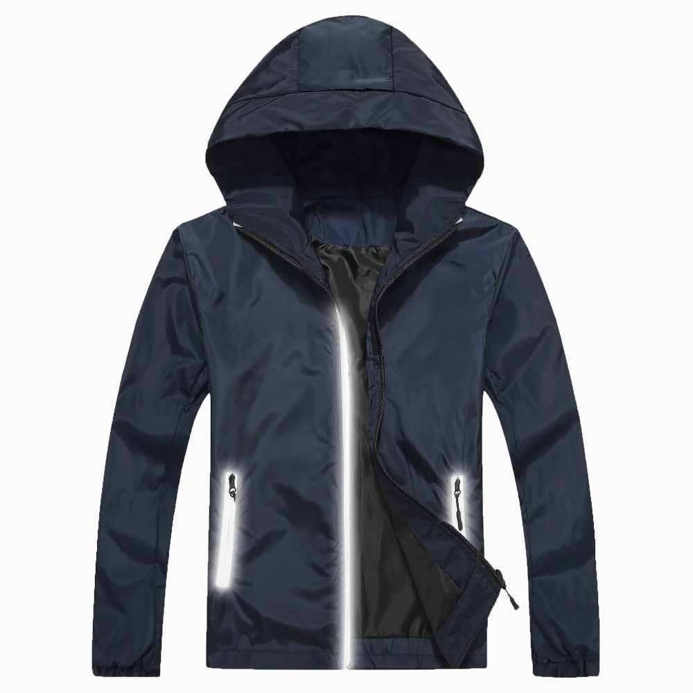 New mens outdoor jacket hooded loose waterproof windbreaker retro reflective sports camping hiking jacket large size shirt