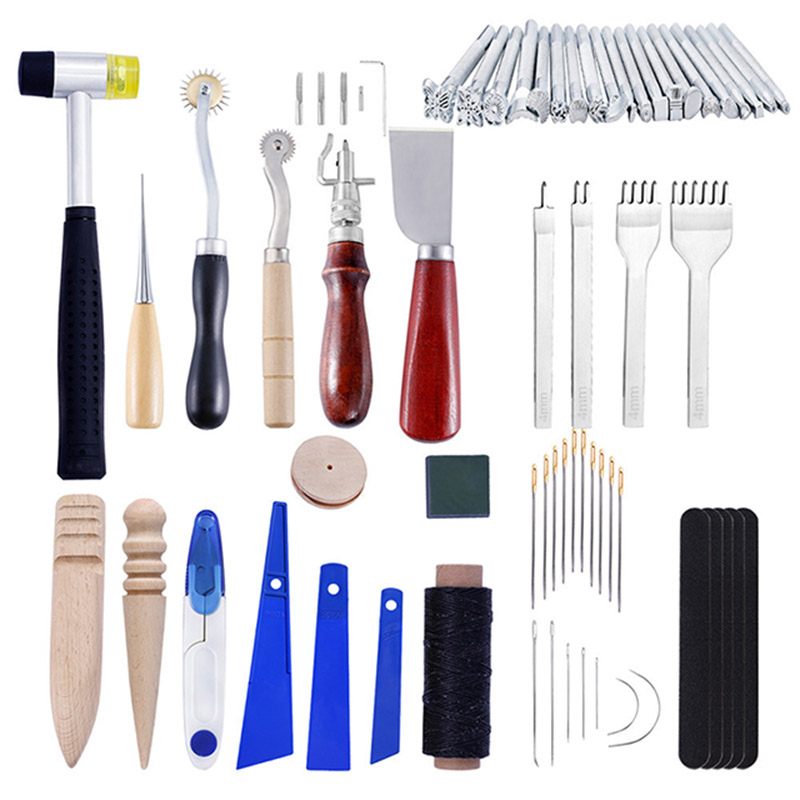 46pcs/lot DIY Leather Craft Sewing DIY Hand Stitching With Groover Awl Edge Creaser Mat Tools For Leather Working Set