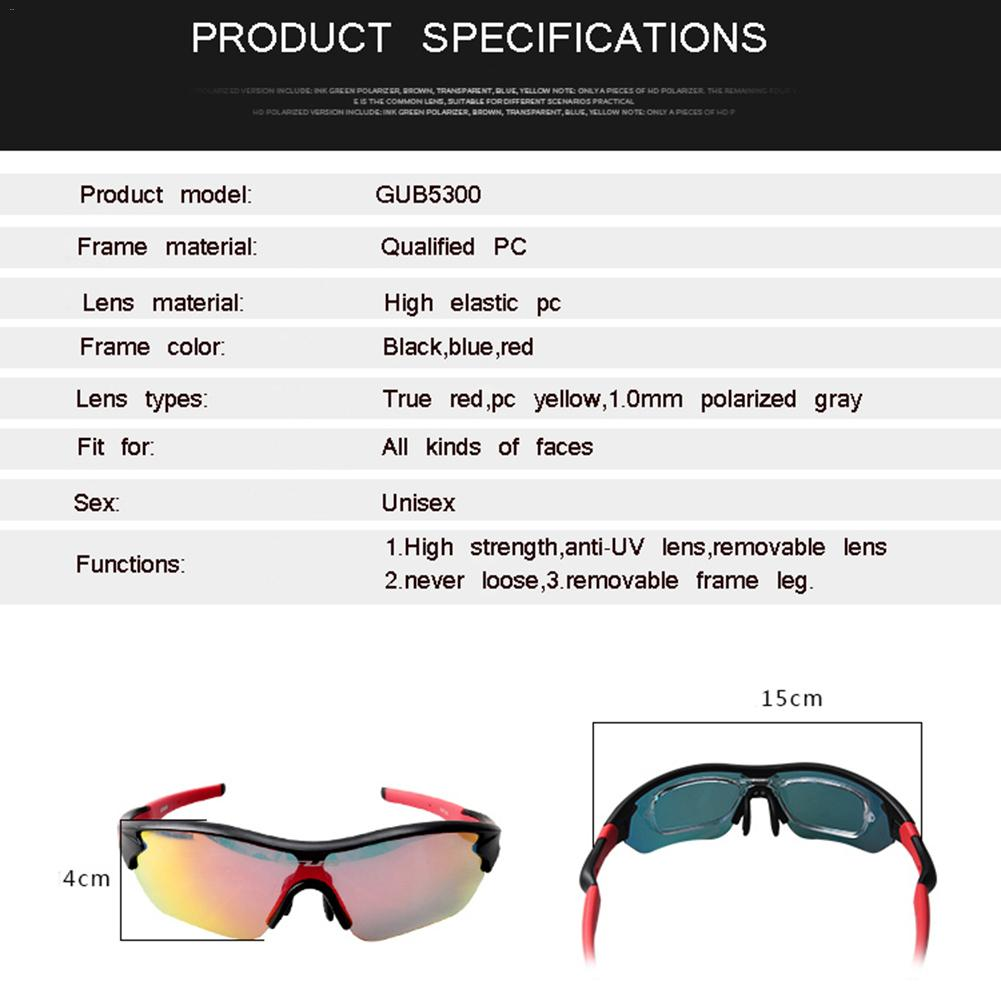 GUB 5300 Polarized Riding Bicycle Glasses Running Glass Outdoor Fishing Sports Glasses Cycling Equipment For Men And Women