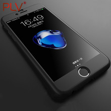 PLV Phone Cases For iPhone 7 7 Plus Case 360 Degree Full Cover Cases For iPhone 6 6s Plus 5 5S SE Cases Protection + Glass