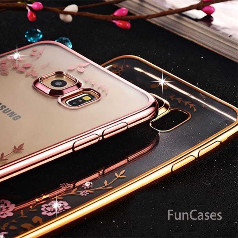 Bling diamante caso claro para samsung s8 s9 a8 a6 j4 j6 plus a7 2018 silicone tpu capa fundas para nota 9 8 j3 j5 j7 a5 a3 s7 s6