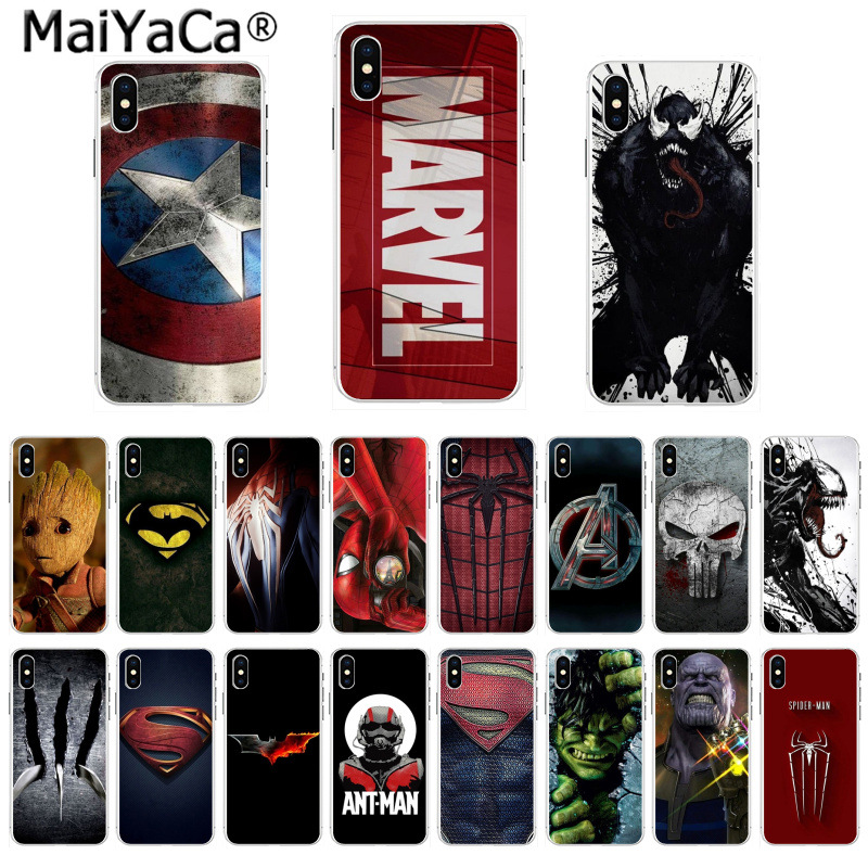 MaiYaCa Amazing Phone Case Marvel Superman Venom Shield Spiderman LOGO for iPhone 8 7 6 6S Plus X 5 5S SE 44S XS XR XS max marvel glass iphone case