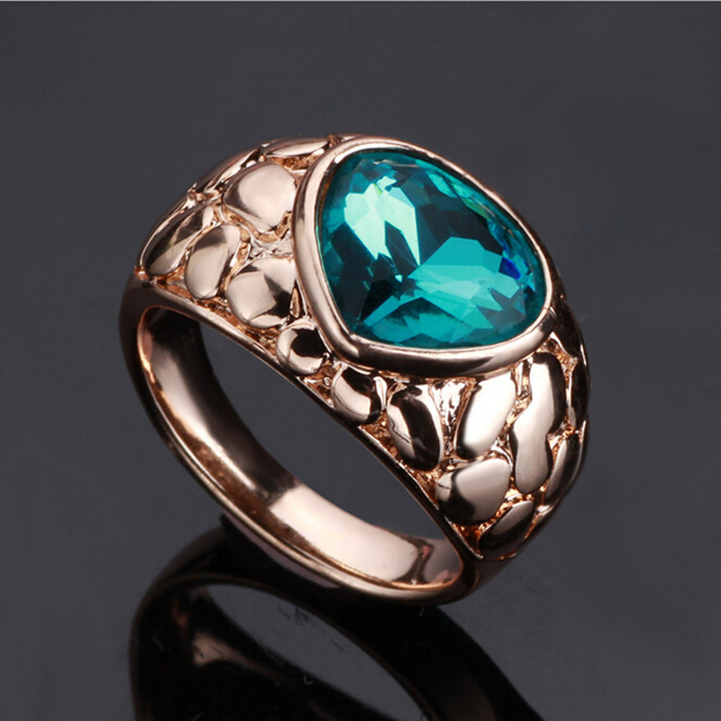 Blue crystal Wedding Rings For Women Rose Gold Color Heart ...