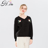 H.SA 2017 Women Pullover Sweaters Birds Embroidery Knitted Jumpers V neck Back Split Sweater Feminino Autumn Winter Pull Sweater