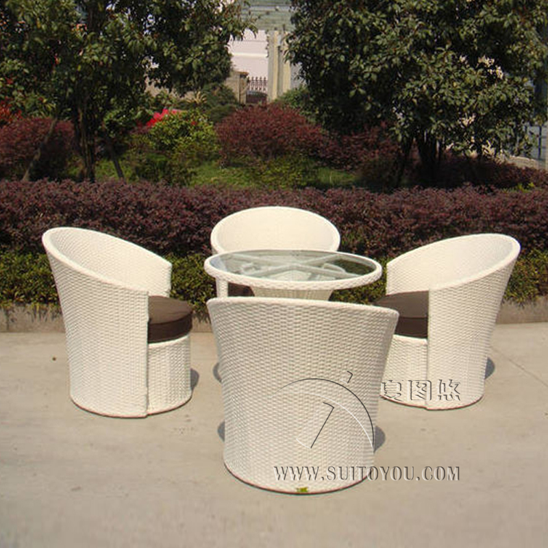 5 pcs Hand-Woven Rattan Garden Dining Sets Outdoor Patio Furniture Chair Set , Aluminum Frame Dining Room Set transport by sea