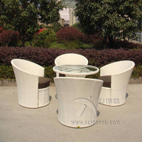 5 pcs Hand Woven Rattan Garden Dining Sets Outdoor Patio Furniture Chair Set , Aluminum Frame Dining Room Set transport by sea