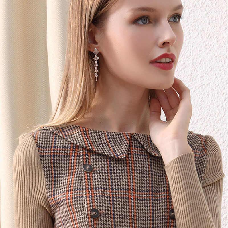 HELIAR/зимние винтажные шерстяные теплые вечерние женские платья с карманами и пуговицами, тонкие элегантные шерстяные платья в клетку с вязаным рукавом