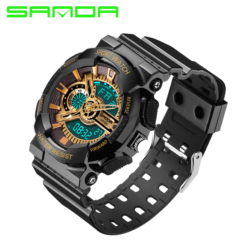 2016 New Brand Luxury Gold Black Men Sports Watches Analog quartz Led digital display Watch Military
