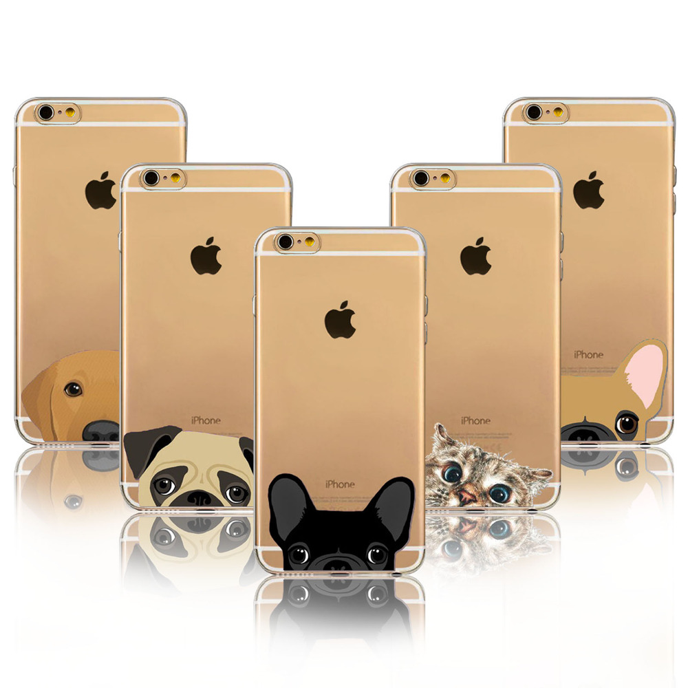 Super Cute Cartoon Cat Dog BULLDOG Phone Cases For iPhone 6 6s Plus 6Plus 5 5s SE Case Soft TPU Gel Flexible Skin Cover