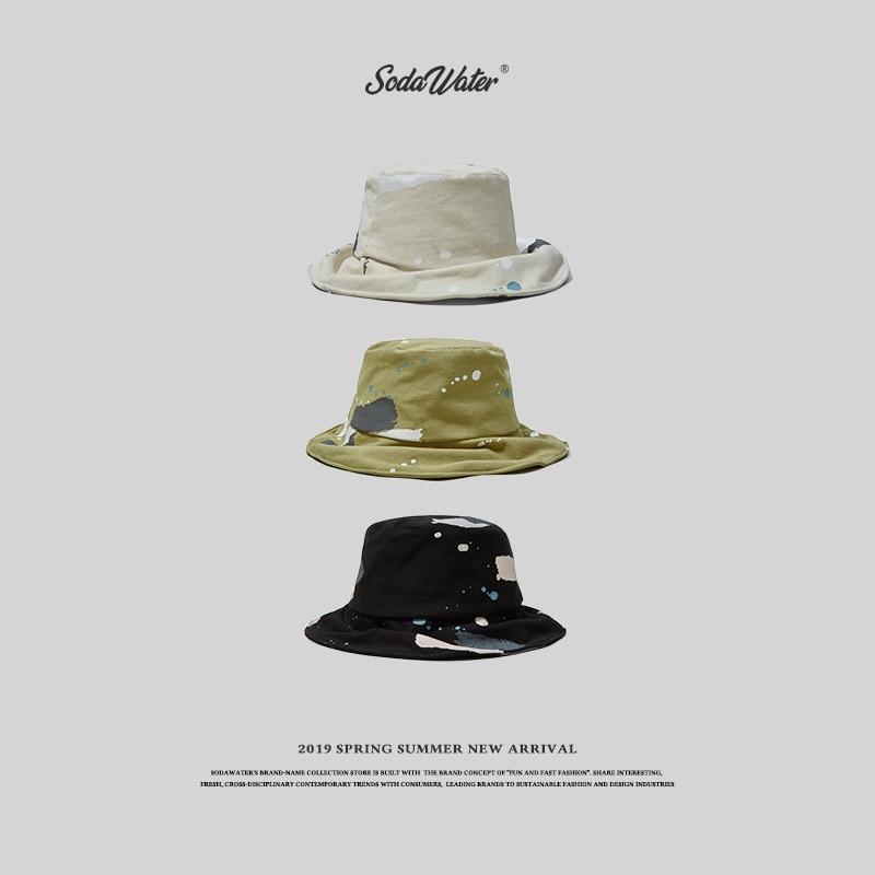 e8097787c59d SODAWATER 2019 algodón salpicadero tinta Retro gorra de pescador sombrero  de viaje al aire libre ...