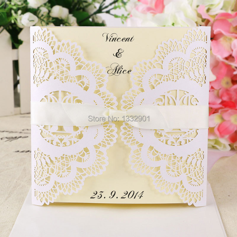 Lace Wedding Invitations Cards Invites White Ivory Blank Envelopes Ribbons Cover In From Home Garden On Aliexpress Alibaba