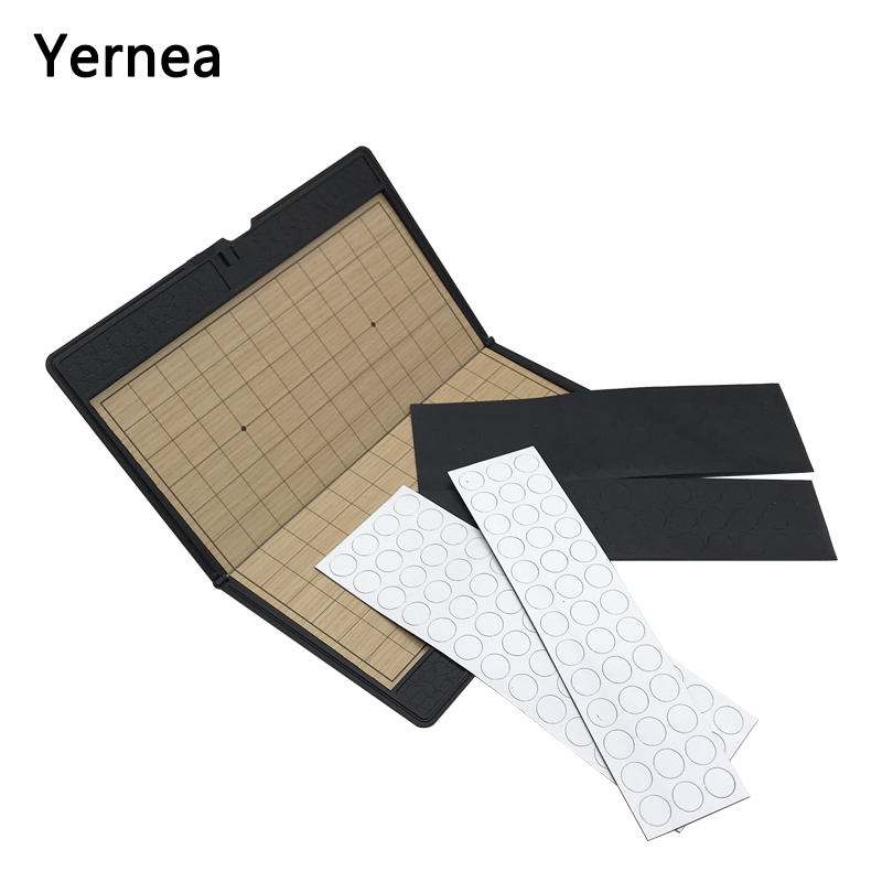 Yernea New Portable Go Game Set Mini Chessboard Magnetic Chess Pieces Outdoor Sports Goods Chess Game Souptoys weiqi ...