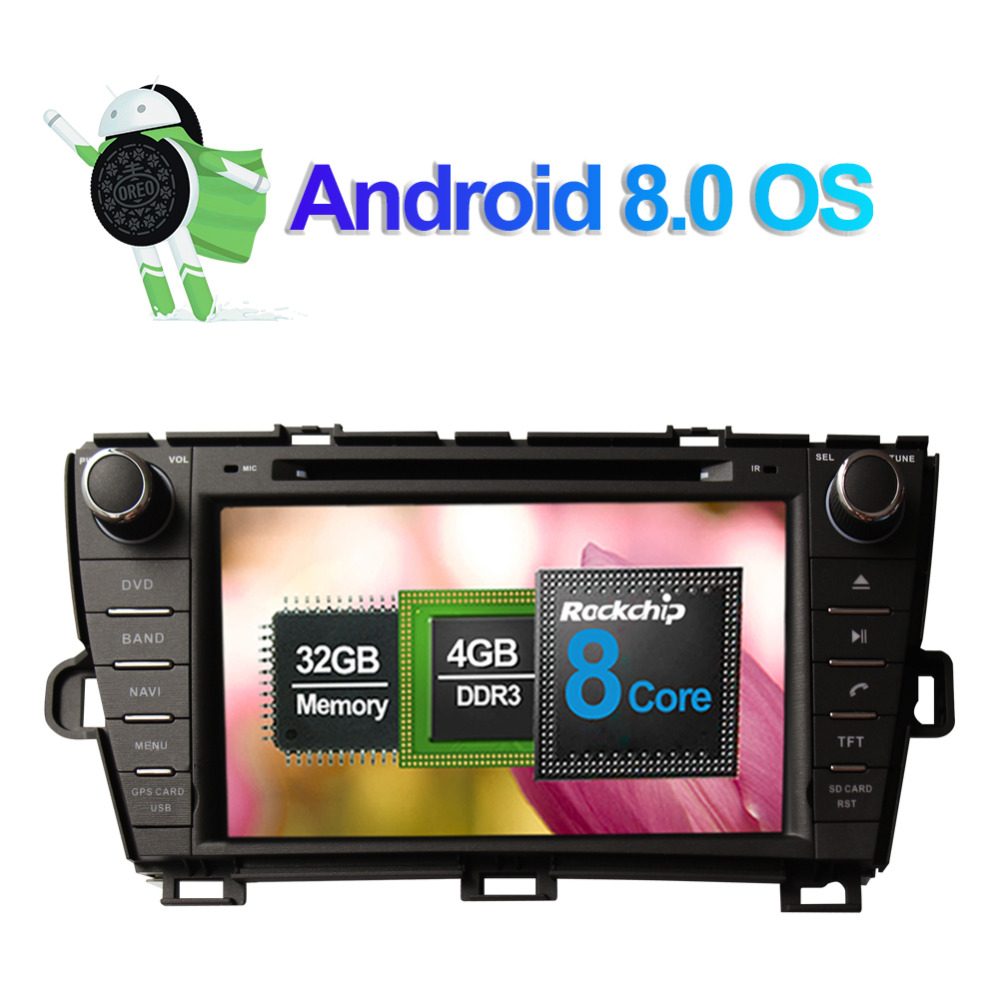 Clearance Android 8.0 Octa Core 4GB RAM Car Radio Stereo GPS Navigation For Toyota Prius 2009- Left Hand Driving DVD Multimedia Player 1