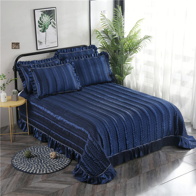 Purple Khaki Gray Blue Luxury European Polyester Cotton Quilted Bedspread Bed Cover Bed Sheet Bed Linen Blanket Pillowcases 3pcs in Bedspread from Home Garden