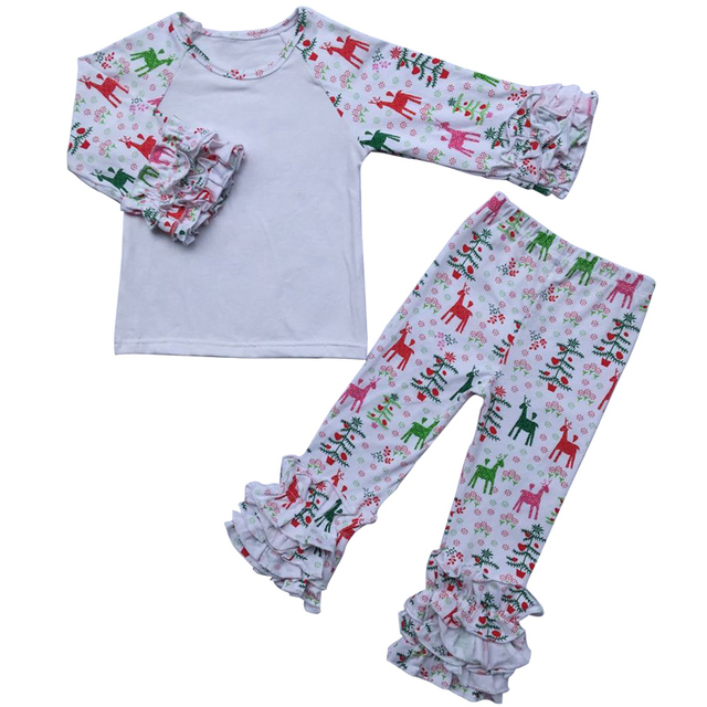 d9142f01e Christmas Outfit Kids Girls Clothes sets Knit Cotton Girls t shirts+Ruffle  Leggings Autumn winter Baby Girls Boutique Clothing-in Clothing Sets from  ...