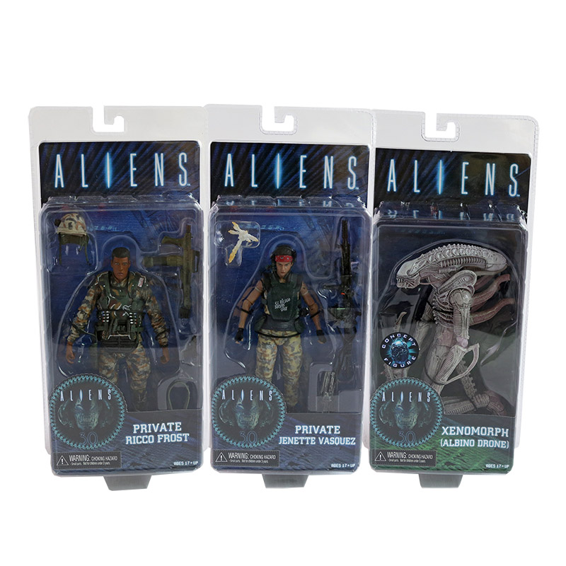 NECA ALIENS Series 9 Xenomorph Albino Drone Private Ricco Frost Jenette Vasquez PVC Action Figure Collectible Model Toy 7