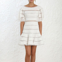 Summer Vacation Bohemian Beach Dress 2019 Women White Puff Sleeve Hollw Out Cotton Lace Mini Dress vestidos
