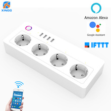 Smart WiFi Alexa Power Strip Intelligent Socket Switch 4 AC Outlets 4 Fast Charging USB Port For  Echo Google Assistant 16A 250V