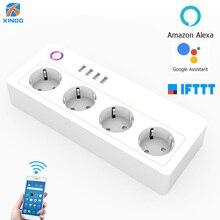 Wifi thông minh Alexa Dán Cường Lực Thông Minh Công Tắc Ổ Cắm 4 AC Ổ Cắm 4 Sạc Nhanh Cổng USB Cho Echo Google Trợ Lý 16A 250V
