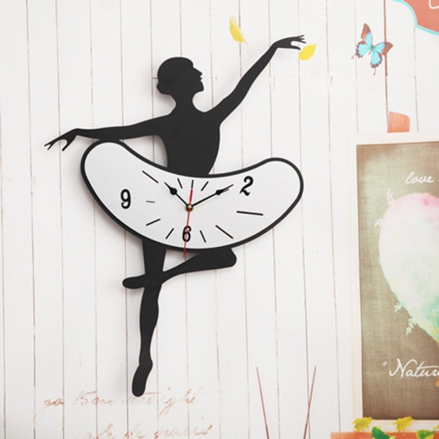 1PC DIY Ballet Girls Design Wall Clock Personal Super Quiet Home Living Room Decoration Wall Sticker Clock Drop Shipping