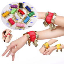 Ladies Belly Dance Costume Bracelets Stretchy Women Indian Dance Costume Bracelets Chiffon Coins & Beads Free Size(China)