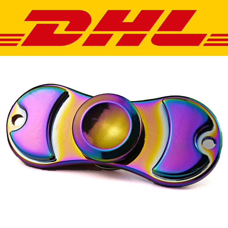 100Pcs/Lot Colorful Titanium Alloy Metal Tri Spinner Finger Adults Anti Stress Toys Autism ADHD Funny EDC Hand Spinning Topgift