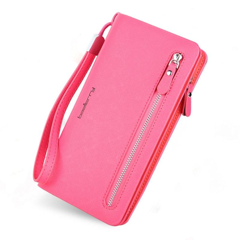 где купить Fashion Leather Phone Wallets Women Zipper Long Coin Purses Money Bag Credit Card Holder Wrist Band Clucth Wallets Female QL дешево