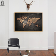 Huge Black World Map Paintings Print On Canvas HD Abstract Painting Office Wall Art Home Decor Pictures