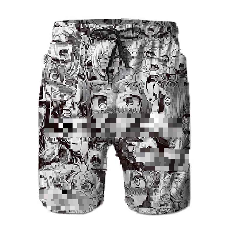 Ahegao 2019 printed   Shorts   Men's Summer Anime Girl Print Beach   Shorts   Personalized Sportswear Boys Boardshorts Dropship