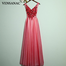 VENSANAC 2018 A Line Red Lace Appliques V Neck Long Evening Dresses Elegant Flowers Open Back Tulle Party Prom Gowns