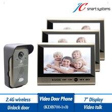 """Impermeable Casa Puerta de Intercomunicación de Vídeo Portero Con Tres Monitores 7 """"LCD de Vídeo de Apoyo Hablar y Abrir La Puerta de Forma Remota"""