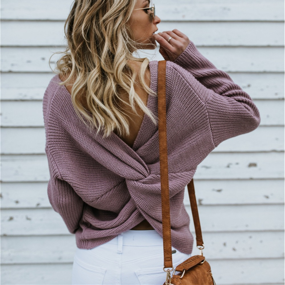 2019 New Sweater Women Autumn Winter Sexy Backless Cross Pullover Jumper Knitting Loose Clothes Female Fashion Winter Sweater