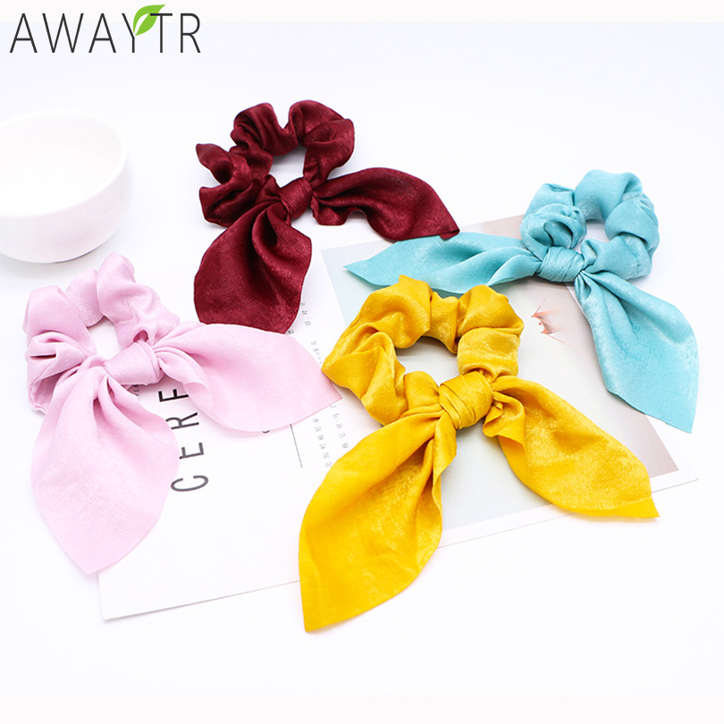 AWAYT Fashion Bow Elastic Hair Bands Women Scrunchie Hair Ribbon Ponytail Ladies Headbands Solid   Headwear   Fixed Hair Accessories