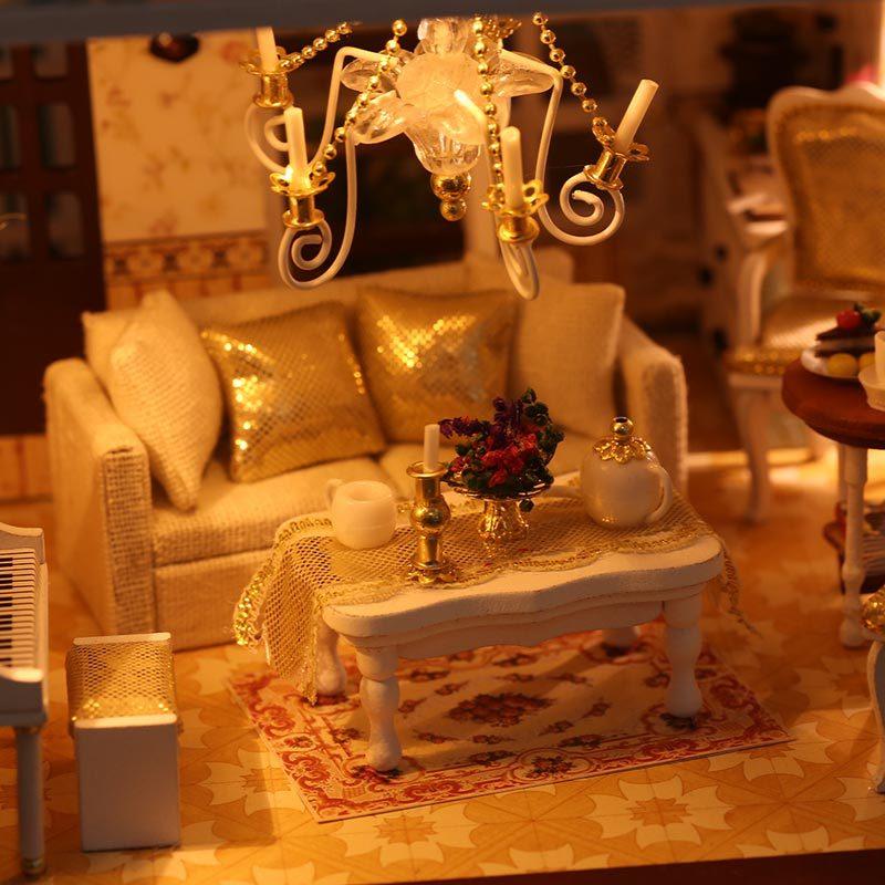 Cutebee DIY House Miniature with Furniture LED Music Dust Cover Model Building Blocks Toys for Children Casa De Boneca - 4