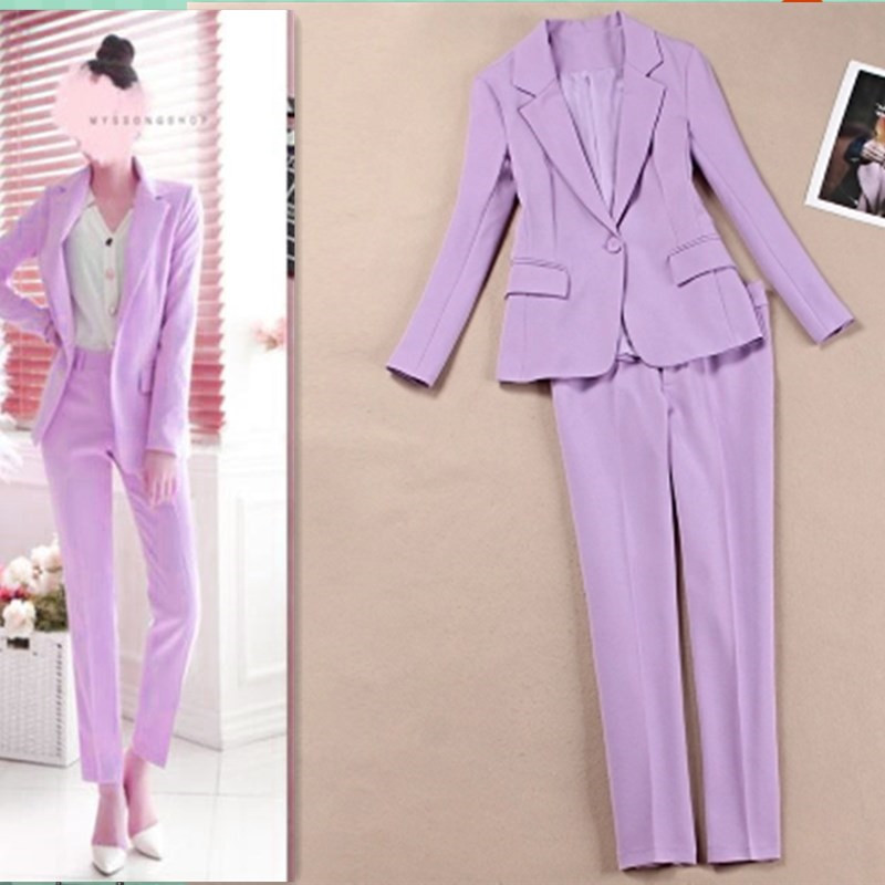 New Autumn Women's Purple Blazer & Suits Pant Suits Women's Suits Two-piece Sets Pant Suits For Women Korean Woman Office Suit