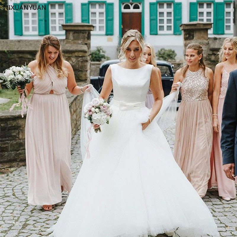 2020 Vestido De Noiva A Line Wedding Dresses Elegant Sleeveless Bride Dresses Backless Wedding Gowns Sweep Train Robe De Mariee
