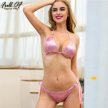 Sexy Lace Up Sequins Bodysuit Women Summer Beach Gold silver pink Halter push up Bikini Befree Body Two piece Party Jumpsuit Hot