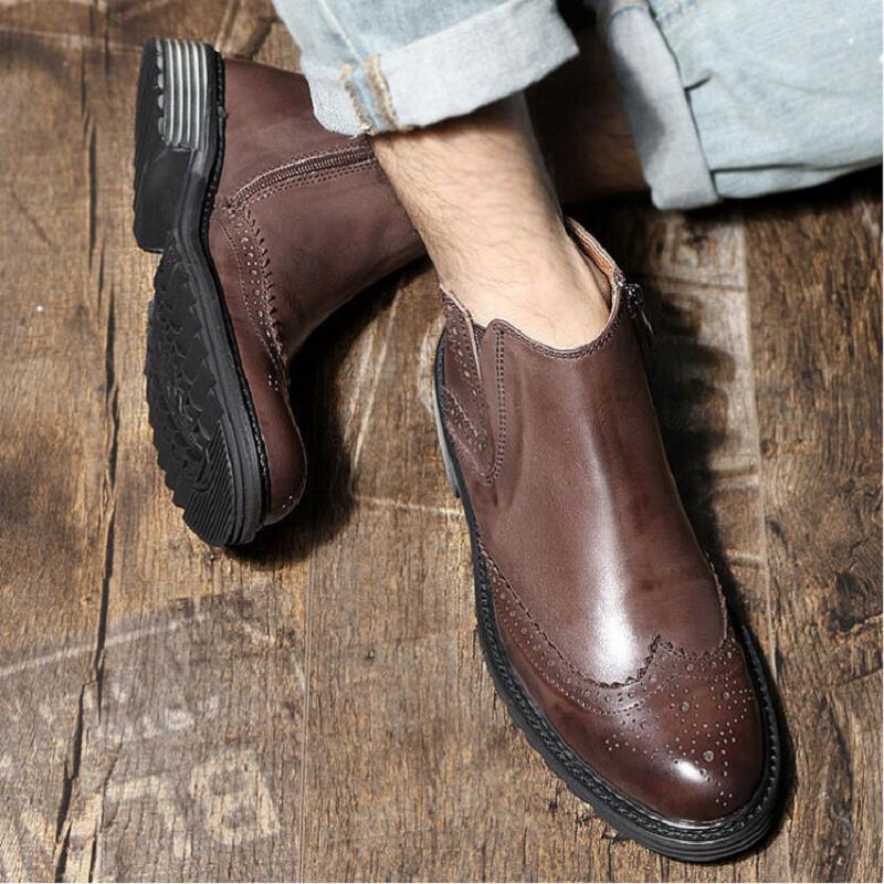 Botines Otoño Calidad Cuero Zapatos Y Mycolen Botas Hechos Negro Vaca De Mano Invierno Auténtico A Alta Negocios marrón Hombres El 7OdxPwq