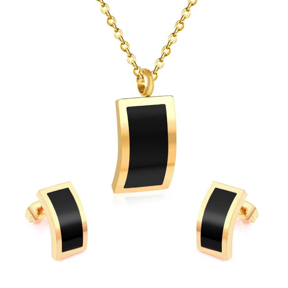 LUXUKISSKIDS Stainless Steel Black Shell Butterfly Jewellery Sets Necklace Earrings Wedding Bridal Dubai Jewelry Sets For Women
