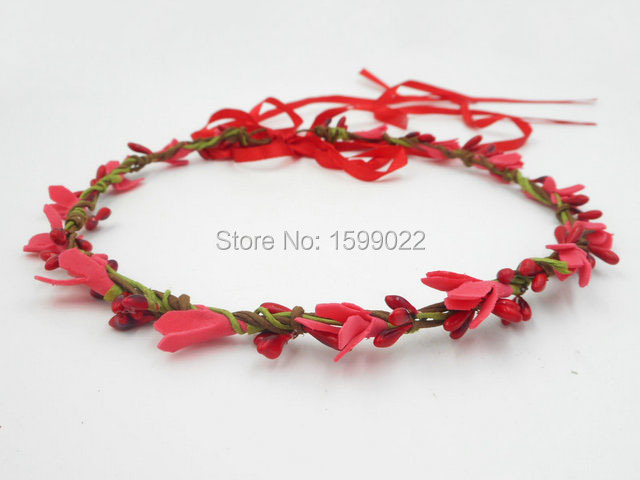Festival Foam Flower Crown Red Simple Wedding Bridesmaid Hair Band Bridal  Accessories Birthday Party Girls Christmas 4d232d69ea2