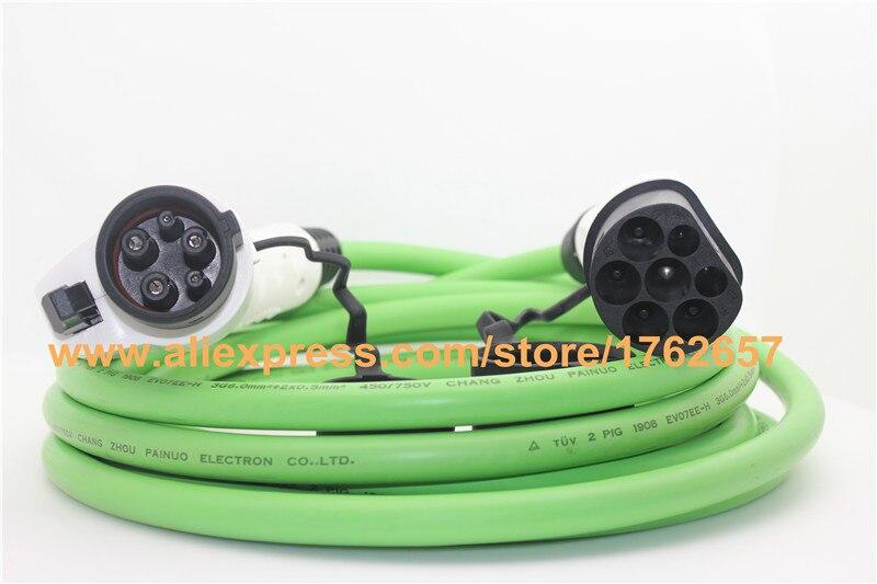 Ev auto ladegerät 32A EV ladegerät 5 mt SAE J1772 zu IEC 62196-2 typ 1 typ 2 stecker elektrofahrzeug ladestation ev stecker