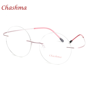 Image 3 - チャシュマ新ブランドチタンリムレス眼鏡フレーム超軽量近視ラウンドヴィンテージ眼鏡光学フレーム男性と女性