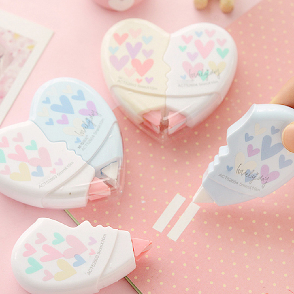 2pcs/pack 10 Meters Creative Heart To Heart Correction Tape Corrective Erasers School Office Supply Student Stationery Gift