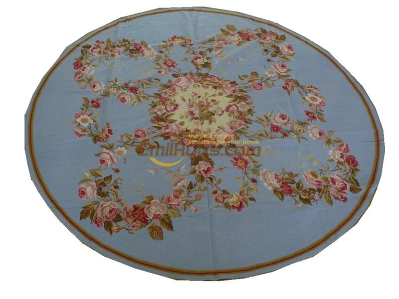 Style luxe aiguille Point tissé à la main tapis rond cousu à la main tapis canapé couverture musée laine de mouton naturelle