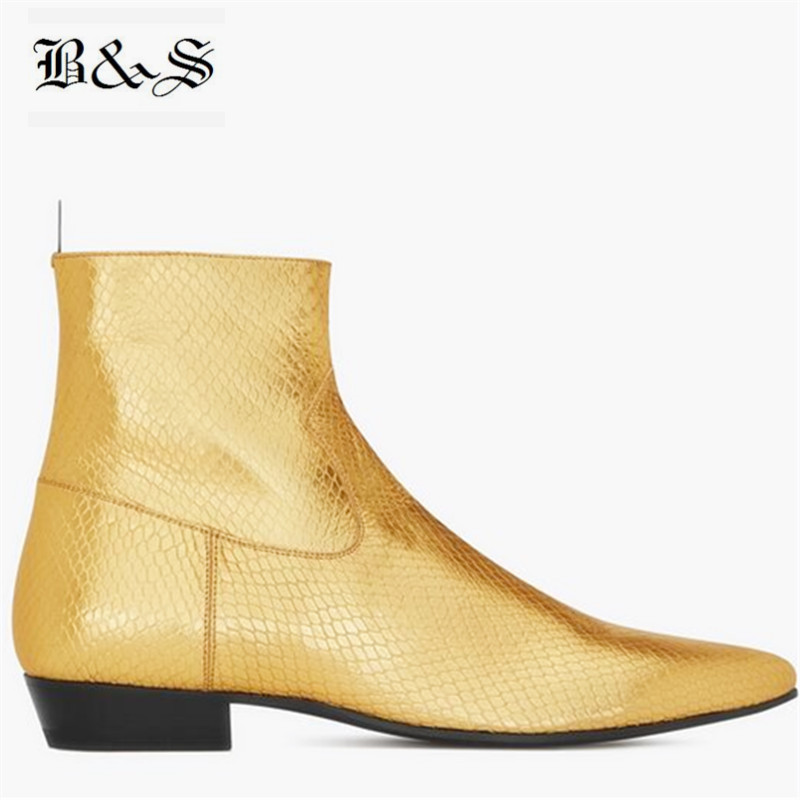 Black& Street Pointed Toe Wyatt genuine leather Luxury Golden Serpentine Cowhide personalized Men Boots New designer Bota ShoesBlack& Street Pointed Toe Wyatt genuine leather Luxury Golden Serpentine Cowhide personalized Men Boots New designer Bota Shoes