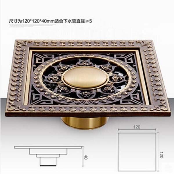 ФОТО Artistic Antique Brass Floor Waste Drain 12cm