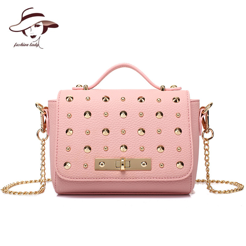 2017 Women Handbag Rivet Chain Shoulder Bag Fashion Women Messenger Bags High Quality Brand PU Leather Crossbody A Main Bolsos veevanv top quality pu leather handbag kim kardashian plaid rivet shoulder bag famous brand handbag messenger bags for women