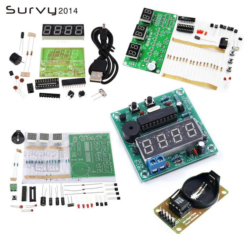 AT89C2051/DS3231 Digital 4/6 Bits Electronic Clock Electronic Production Suite DIY Kit