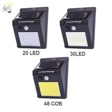 20 Вт, 30 Вт, 48 светодиодный солнечный светильник на открытом воздухе украшения сада лампа движения PIR Сенсор Ночной Настенный фонарь безопасности Водонепроницаемый
