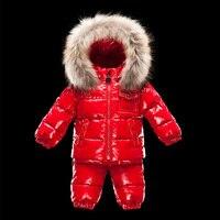 Розничная продажа 2018 г. зимняя детская верхняя одежда детская одежда для мальчиков и девочек вниз пальто комплект с меховой шапке бесплатна